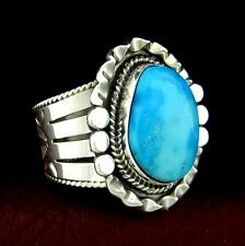 Sterling Silver Native American Made Men's Turquoise Ring  Size 12 --- R19 A T
