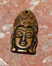 HOLY KWAN YIN HAND CARVED COW BONE PENDANT BEAD FROM NEPAL WITH FREE SHIPPING