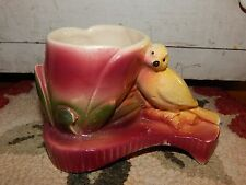 Vintage 40's Shawnee Pottery Yellow Canary Bird Figurine Planter Red Tulip