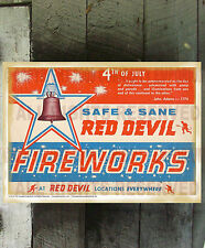 VINTAGE SAFE AND SANE RED DEVIL FIREWORKS FINE ART REPRINT