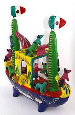 Vintage ORTEGA Mexican Folk Art Cermaic Ship Ark w/ Figures and Animals, Signed