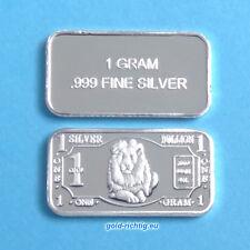 1 Gramm Silberbarren - Löwe (Silber Feinsilber Barren Silver Lion) NEU