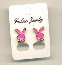Bunny Stud Earrings. Gold Outline with Hot Pink Enamel Feature.