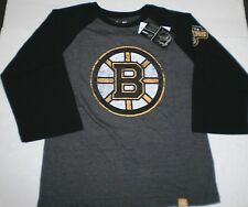New NHL Boys Youth Boston Bruins  3/4 Sleeve Raglan Team logo T-Shirt Medium