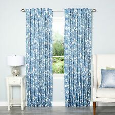 {Warehouse Clearance} Blue Digital Paisley Rod Pocket 84-inch Curtain Panel Pair