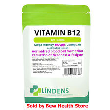 Vitamin B12 tablets (100) Mega Strength 1000mcg Fatigue Iron Deficiency Lindens