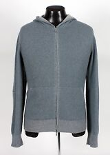 $2320 LORO PIANA 100% CASHMERE Hooded Full Zip Bomber Sweater SUEDE - Blue 52 L