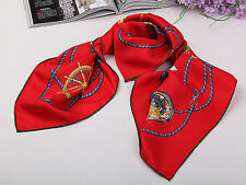 Large Square Silk Twill Scarf Hand Rolled Hem Red Theme Nautical Print  XWC182