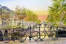 "NEW ORIGINAL ALAN REED WATERCOLOUR ""Bikes, Amsterdam"" Dutch Holland PAINTING"