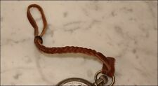 """LEATHER FLAT BRAIDED BROWN POCKET WATCH STRAP NOS NEW OLD STOCK 9"""" FOR BELT"""
