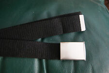 40mm Black Webbing Silver Metal Snap Buckle Military Royal Navy Style Belt