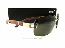 New Mont Blanc Sunglasses MB408/S Gold Wood Grain 28J Authentic