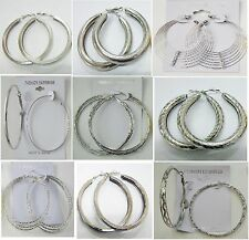 SU-12 Wholesale Fashion Earring lots 9pairs Silver Plated Hoop EarringsUS-SELLER