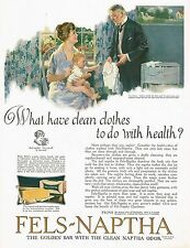 1920's BIG Vintage Fels Naptha Laundry Soap Mother Baby & Doctor Art Print Ad