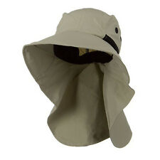 Juniper Mens Wide Brim Outdoor Sun Neck Protection Fishing Flap Hat Khaki 7213A