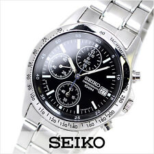 SEIKO SND367P1 Tachymeter Chronograph Black Dial Men's Watch From Japan