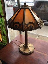 Antique Miller 8 Panel Slag Glass Table Lamp