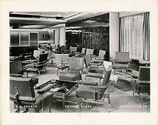 Paquebot S.S. FRANCE. c. 1960 - Intérieur Smoking Room Tourist Class - Div 80