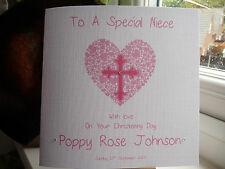 Handmade Personalised Christening Baptism Dedication Card Girl Goddaughter Niece