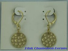 NEW ON CARD Costume Jewelry Metal Pierced Dangle Earrings Goldtone