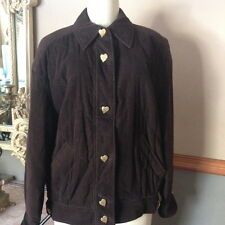 NEW ESCADA MARGARETHA LAY BOMBER BROWN HEARTS  JACKET SZ 36 GERMANY