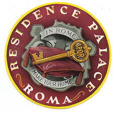 1950s Luggage Label from the Residence Palace Hotel Rome Italy