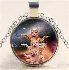 Space Cats Photo Cabochon Glass Tibet Silver Chain Pendant Necklace