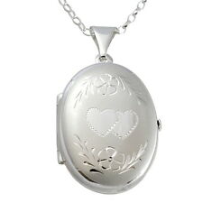 "STERLING SILVER OVAL FAMILY LOCKET PENDANT WITH 18"" CHAIN - SPACE FOR 4 PICTURES"