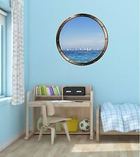 "24"" Porthole Sea Window View SAIL BOATS #2 ROUND Wall Decal Art Sticker Graphic"