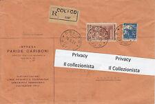 Lire 100 Serie Italia Al lavoro in Raccomandata da Colico-Como a Livorno 1951