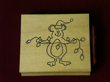 Inky Antics 2000 Hatte Lace Mouse Santa Hat Christmas Bulbs Wood Rubber Stamp