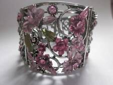 VICTORIAN STYLE MULTI PINK CRYSTAL STUD ON FLOWER FLORAL CUFF BANGLE BRACELET