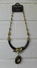 Womens Ladies New Short Gold Brown Antique Wood Pendant/Necklace Gift