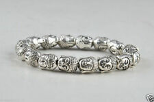 China Tibet Silver carved Buddha head beads Amulet Elastic Bracelet