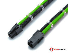 4 Pin 30cm Black & Green ATX CPU Mobo Sleeved Extension Shakmods + 2 Cable Combs