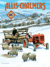 Allis Chalmers Old Tractor Countryside Farming Sheep Dog Small Metal/Tin Sign