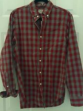 NWT MENS J CREW L/S BUTTON DOWN RED/GRAY CHECK SHIRT SZ  SMALL