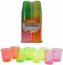 40 Disposable Plastic Neon Coloured Party Glasses Cups 30ml Colourful, NEW