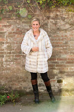 Beautiful white grey Vintage faux fur coat TISSAVEL Genuine French simulated fur