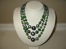 Vintage 3 Strand Gray Peacock Pearls & Green Czech Art Glass Beads Necklace