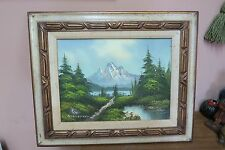 """Vintage Oil on Canvas Painting Signed G. Stevens 12"""" x 16"""" - 18"""" x 22"""" Mountains"""