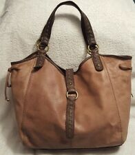 *PM SALE $35* LUCKY BRAND Stone Brown Leather Festival Hobo Shoulder Bag  Tote