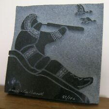"DAVID & LEE BERNETT..LOOKING FOR GAME..MARBLE SCULPTURE/PLAQUE..7"" x 7"""