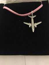 Boeing 737-400 C11 Aircraft Jet Airliner Pewter Pendant on a PINK CORD Necklace