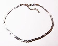 Llamativo Partido Listo Lentejuelas Plata Cadena Collar Con 5 Cm Hebilla Ajustable (zx40)