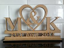 W3 WEDDING DAY With 2 Initials Heart Table Top Plaque Laser Cut MDF Sign