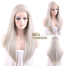"""Long Straight 24"""" Mixed Grey Lace Front Wig Heat Resistant"""
