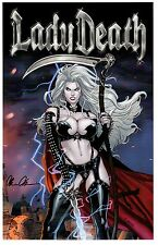 LADY DEATH ART PRINT COVER I RICHARD ORTIZ  Signed by  BRIAN PULIDO
