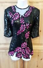 FRANK USHER BLACK SILK SIZE 14 SEQUIN EVENING TOP CRUISE FORMAL COCKTAIL PARTY