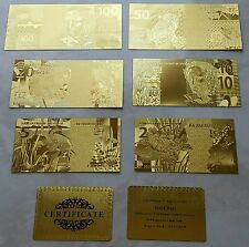 BANCONOTE DOLLARI $1-2-5-10-20-50-100 IN FOGLIA D'ORO 24KT Lot of Banknotes Gold